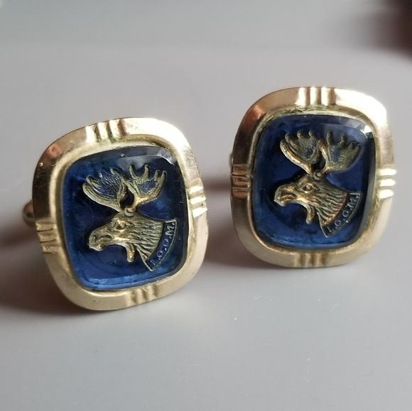Pair of Vintage Swank Elks  gold tone Club Cuff Links